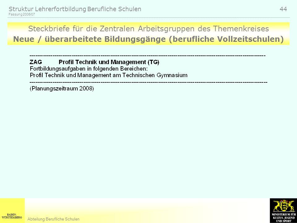 BADEN- WÜRTTEMBERG Abteilung Berufliche Schulen Fassung 2006/07 Struktur Lehrerfortbildung Berufliche Schulen 44 Steckbriefe für die Zentralen Arbeits