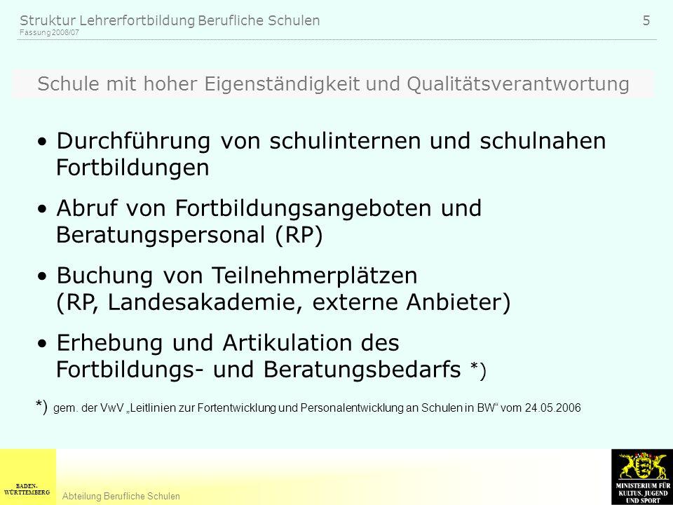 BADEN- WÜRTTEMBERG Abteilung Berufliche Schulen Fassung 2006/07 Struktur Lehrerfortbildung Berufliche Schulen 5 Schule mit hoher Eigenständigkeit und