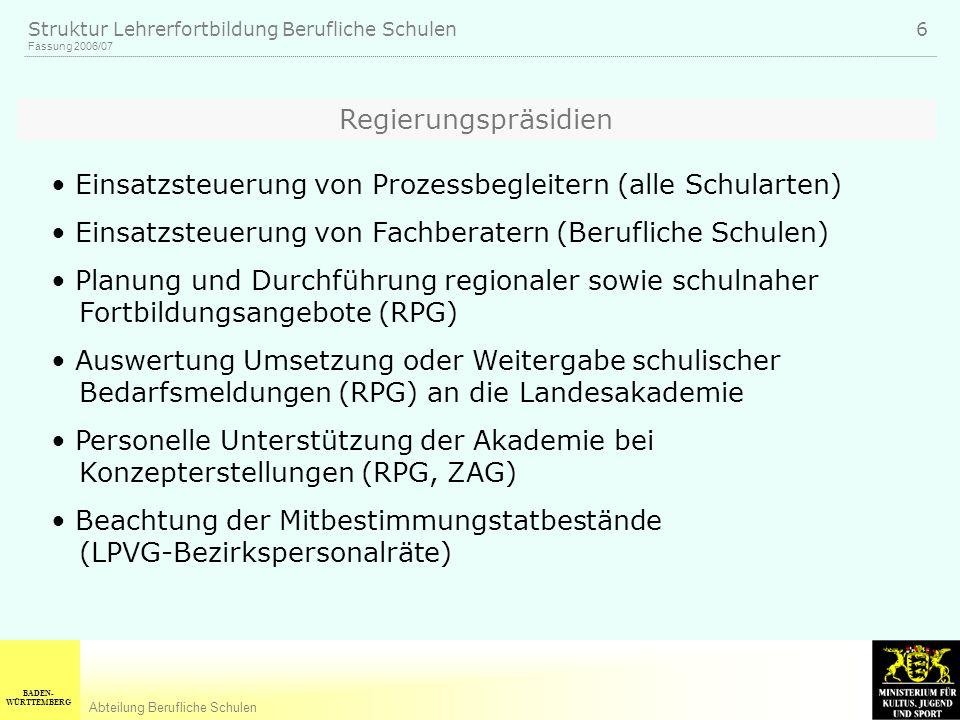 BADEN- WÜRTTEMBERG Abteilung Berufliche Schulen Fassung 2006/07 Struktur Lehrerfortbildung Berufliche Schulen 6 Regierungspräsidien Einsatzsteuerung v