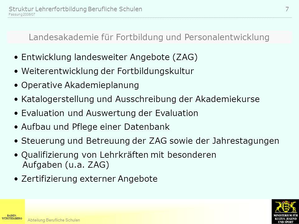 BADEN- WÜRTTEMBERG Abteilung Berufliche Schulen Fassung 2006/07 Struktur Lehrerfortbildung Berufliche Schulen 7 Landesakademie für Fortbildung und Per