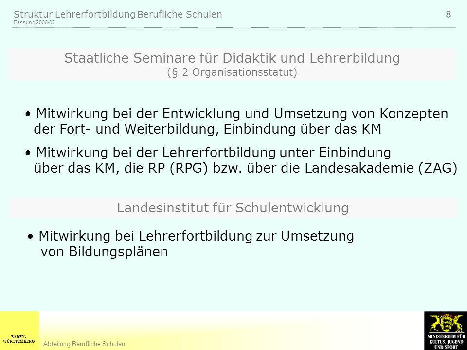 BADEN- WÜRTTEMBERG Abteilung Berufliche Schulen Fassung 2006/07 Struktur Lehrerfortbildung Berufliche Schulen 8 Staatliche Seminare für Didaktik und L