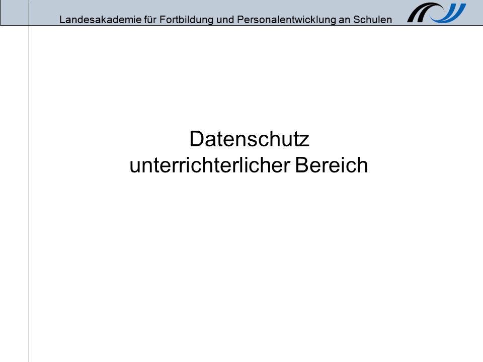 Landesakademie für Fortbildung und Personalentwicklung an Schulen Stand: 18.02.20082 Übersicht Rechtliche Probleme bei der schulischen Nutzung Internet –Homepage (inkl.