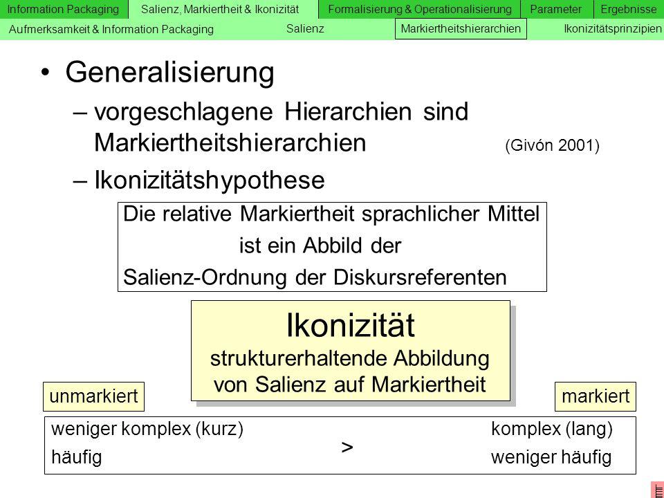 Information Packaging Salienz, Markiertheit & IkonizitätFormalisierung & OperationalisierungParameterErgebnisse Zusätzliche Folien Generalisierung –vo