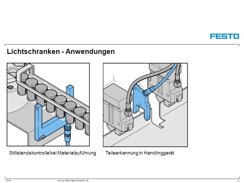 DC-R/Copyright Festo Didactic GmbH&Co. KG Lichtschranken - Anwendungen 12 Stillstandskontrolle bei MaterialzuführungTeileerkennung in Handlinggerät