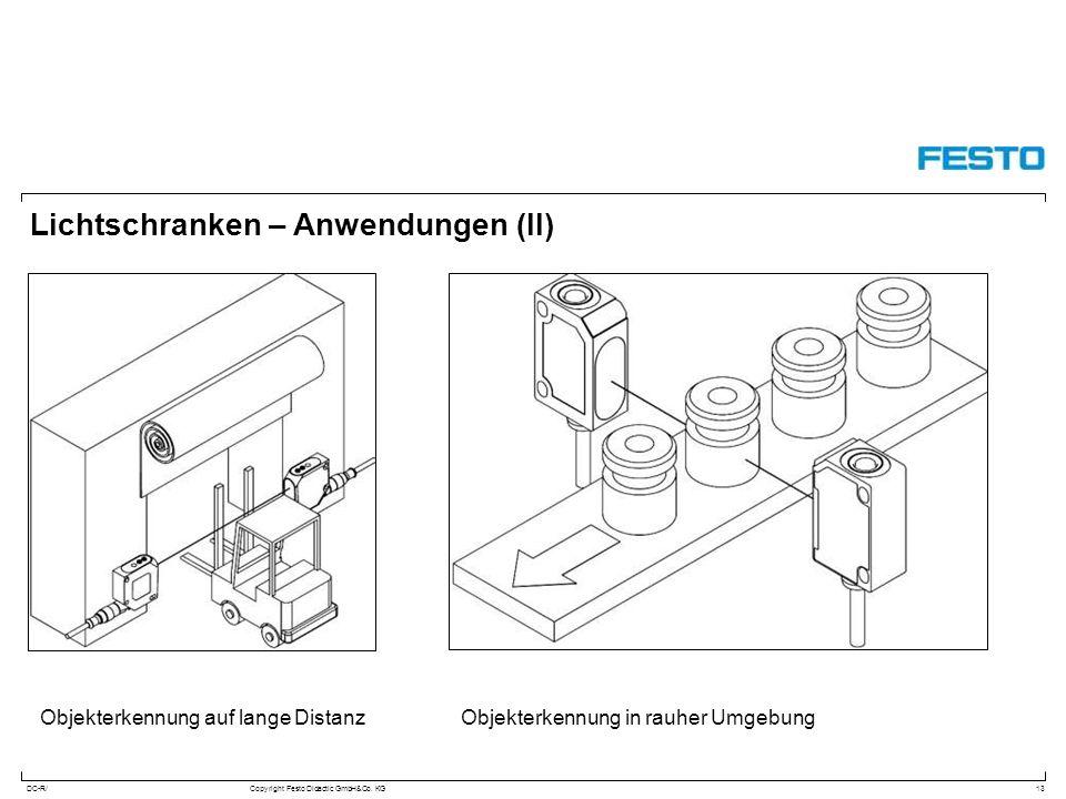 DC-R/Copyright Festo Didactic GmbH&Co. KG Lichtschranken – Anwendungen (II) 13 Objekterkennung in rauher UmgebungObjekterkennung auf lange Distanz