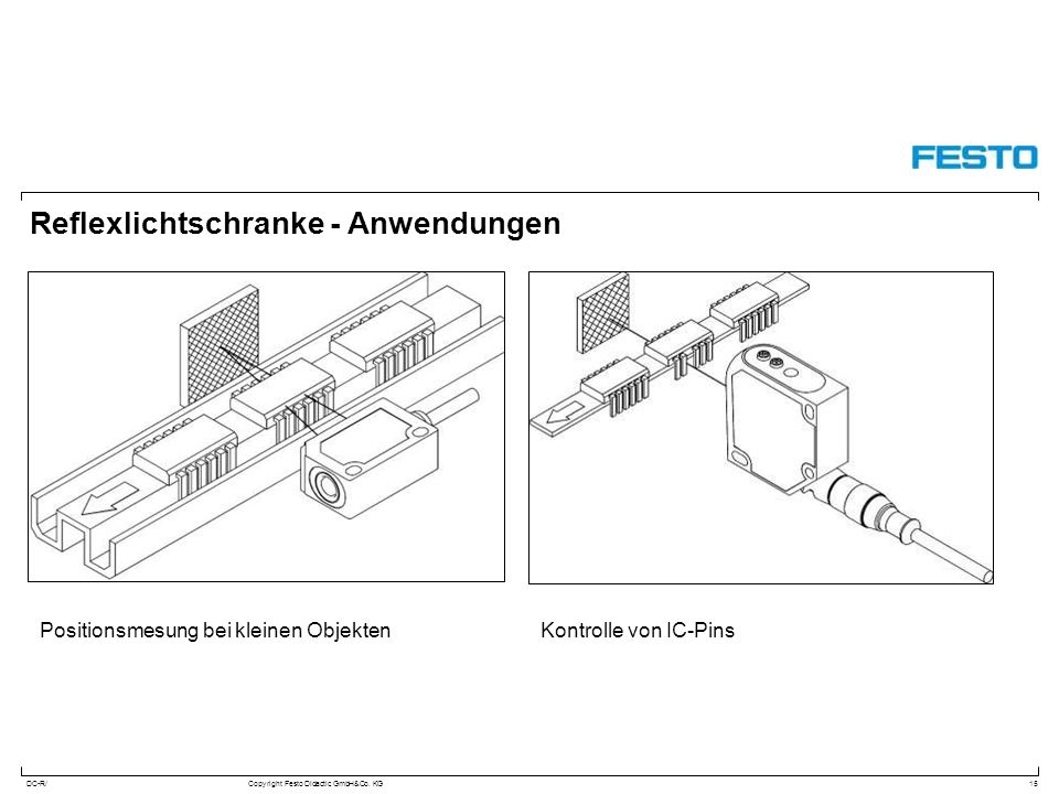DC-R/Copyright Festo Didactic GmbH&Co. KG Reflexlichtschranke - Anwendungen 15 Positionsmesung bei kleinen ObjektenKontrolle von IC-Pins