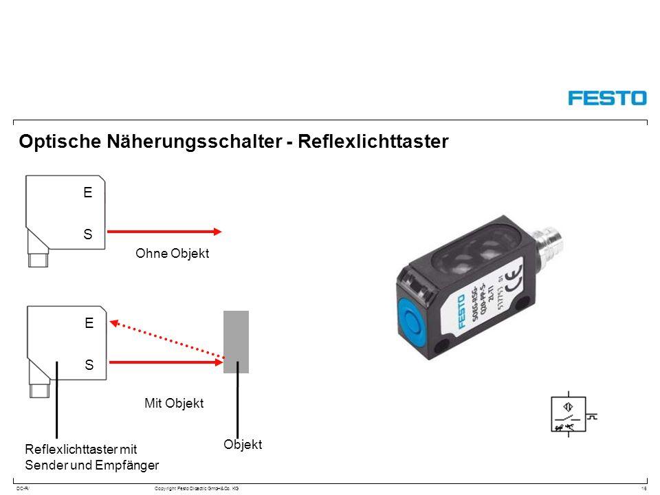 DC-R/Copyright Festo Didactic GmbH&Co. KG Optische Näherungsschalter - Reflexlichttaster 16 S E S E Ohne Objekt Mit Objekt Objekt Reflexlichttaster mi