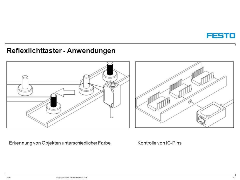 DC-R/Copyright Festo Didactic GmbH&Co. KG Reflexlichttaster - Anwendungen 17 Kontrolle von IC-PinsErkennung von Objekten unterschiedlicher Farbe