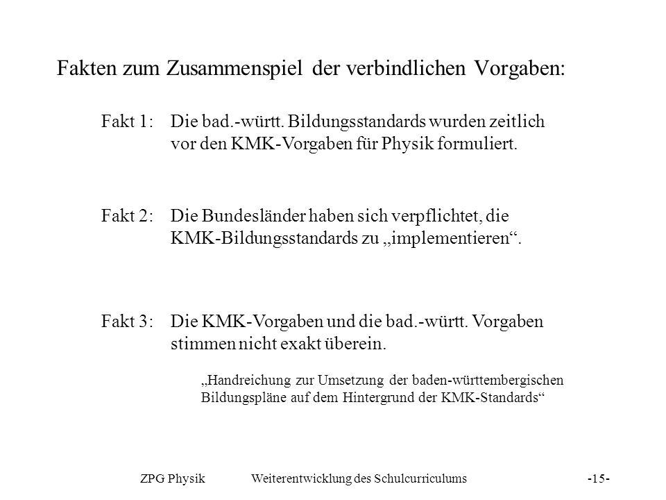 ZPG Physik Weiterentwicklung des Schulcurriculums-15- Fakten zum Zusammenspiel der verbindlichen Vorgaben: Fakt 1: Die bad.-württ. Bildungsstandards w