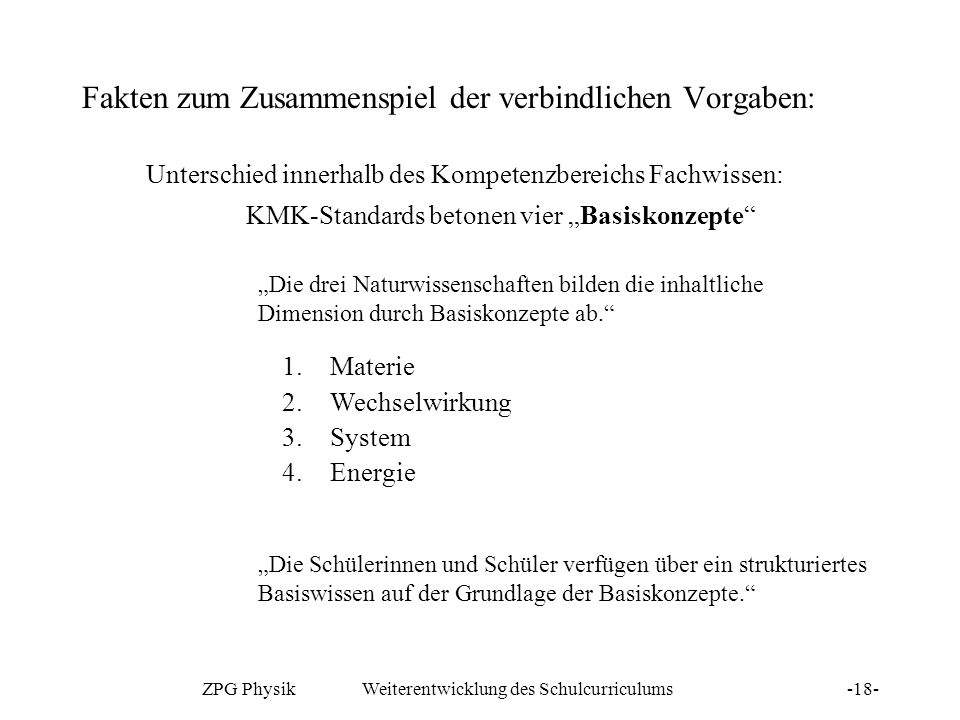 ZPG Physik Weiterentwicklung des Schulcurriculums-18- Fakten zum Zusammenspiel der verbindlichen Vorgaben: Unterschied innerhalb des Kompetenzbereichs
