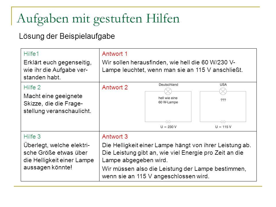 Aufgaben mit gestuften Hilfen Lösung der Beispielaufgabe Antwort 3 Die Helligkeit einer Lampe hängt von ihrer Leistung ab. Die Leistung gibt an, wie v