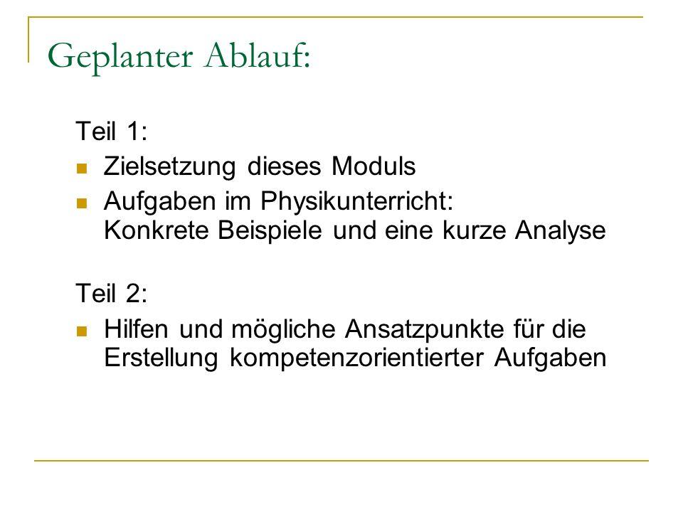 Geplanter Ablauf: Teil 1: Zielsetzung dieses Moduls Aufgaben im Physikunterricht: Konkrete Beispiele und eine kurze Analyse Teil 2: Hilfen und möglich