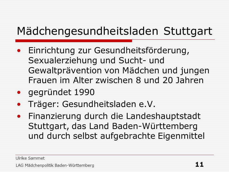Ulrike Sammet LAG Mädchenpolitik Baden-Württemberg 11 Mädchengesundheitsladen Stuttgart Einrichtung zur Gesundheitsförderung, Sexualerziehung und Such