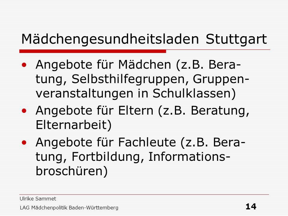 Ulrike Sammet LAG Mädchenpolitik Baden-Württemberg 14 Mädchengesundheitsladen Stuttgart Angebote für Mädchen (z.B. Bera- tung, Selbsthilfegruppen, Gru
