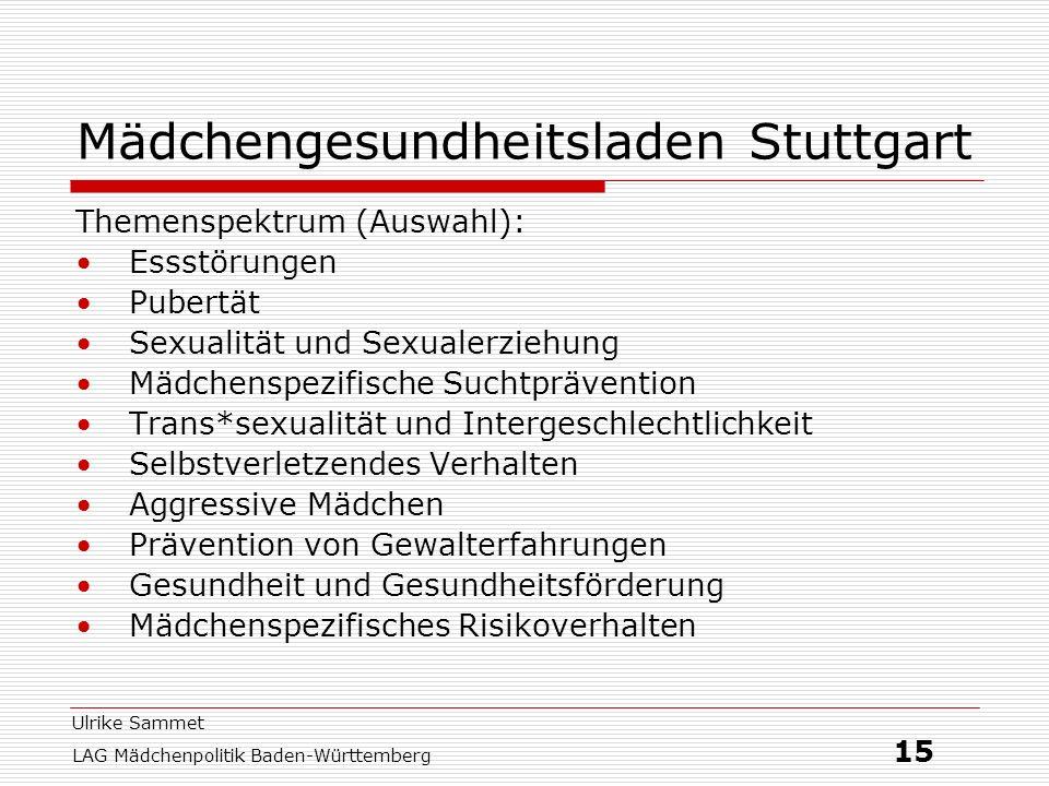Ulrike Sammet LAG Mädchenpolitik Baden-Württemberg 15 Mädchengesundheitsladen Stuttgart Themenspektrum (Auswahl): Essstörungen Pubertät Sexualität und