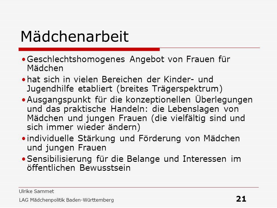 Ulrike Sammet LAG Mädchenpolitik Baden-Württemberg 21 Mädchenarbeit Geschlechtshomogenes Angebot von Frauen für Mädchen hat sich in vielen Bereichen d