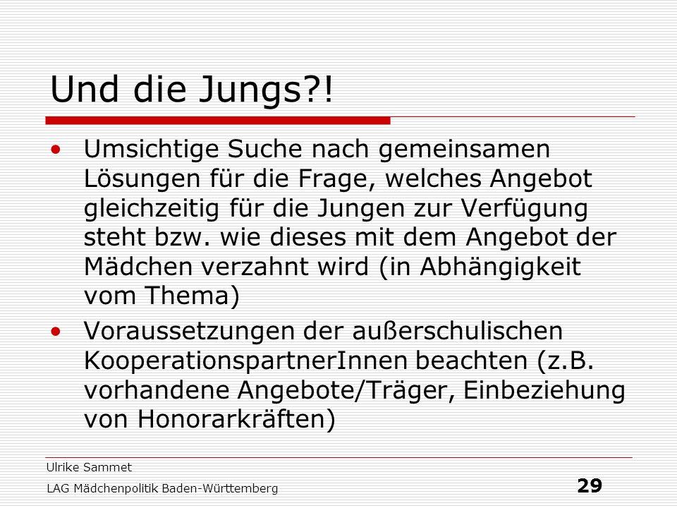 Ulrike Sammet LAG Mädchenpolitik Baden-Württemberg 29 Und die Jungs?! Umsichtige Suche nach gemeinsamen Lösungen für die Frage, welches Angebot gleich