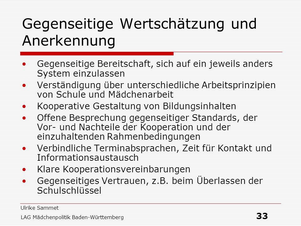 Ulrike Sammet LAG Mädchenpolitik Baden-Württemberg 33 Gegenseitige Wertschätzung und Anerkennung Gegenseitige Bereitschaft, sich auf ein jeweils ander