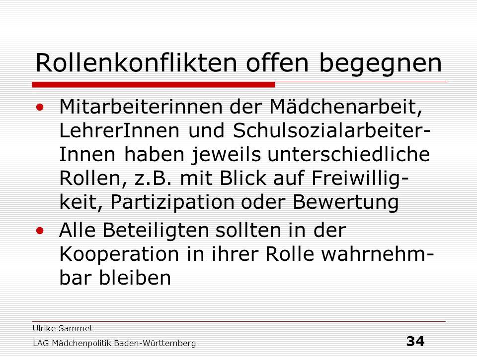 Ulrike Sammet LAG Mädchenpolitik Baden-Württemberg 34 Rollenkonflikten offen begegnen Mitarbeiterinnen der Mädchenarbeit, LehrerInnen und Schulsoziala