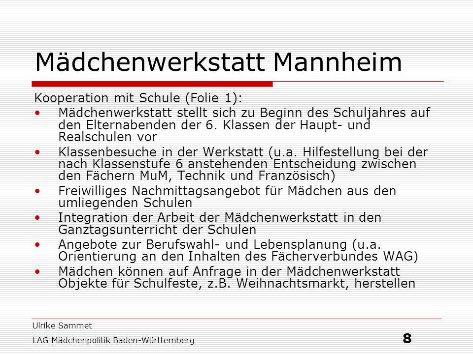 Ulrike Sammet LAG Mädchenpolitik Baden-Württemberg 9 Mädchenwerkstatt Mannheim Kooperation mit Schulen (Folie 2): jährliche Fortbildung für LehrerInnen (Schärfung des Blicks für Geschlechterdifferenz im Technikunterricht, konkrete handwerkliche Unterstützung für LehrerInnen, die fachfremd Technik unterrichten) Arbeitsanleitungen in Form einer Broschüre, die es den TechniklehrerInnen erleichtern sollen, attraktive Produkte, die speziell auch Mädchen ansprechen, herzustellen Elternarbeit (Anregungen für eine Auseinandersetzung in der Familie mit dem Berufsfindungsprozess der Töchter, Informationen über die vielfältigen Möglichkeiten der Berufsorientierung, außerhalb von Schule und Mädchenwerkstatt, auf Wunsch der Mädchen auch Gespräche mit den Eltern bei Problemen und Fragen)
