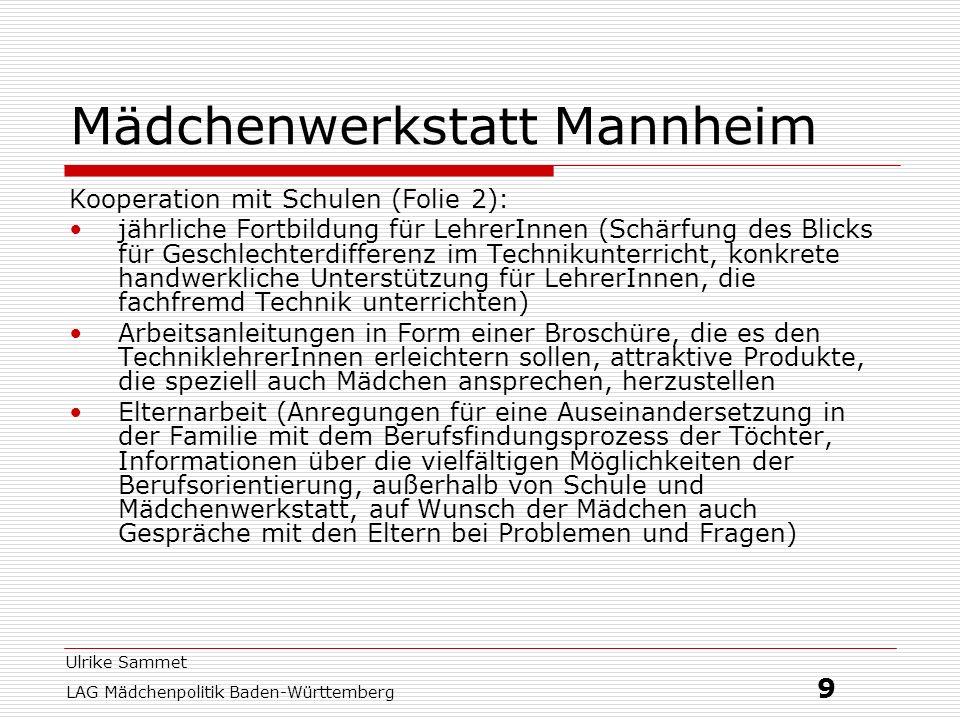 Ulrike Sammet LAG Mädchenpolitik Baden-Württemberg 9 Mädchenwerkstatt Mannheim Kooperation mit Schulen (Folie 2): jährliche Fortbildung für LehrerInne