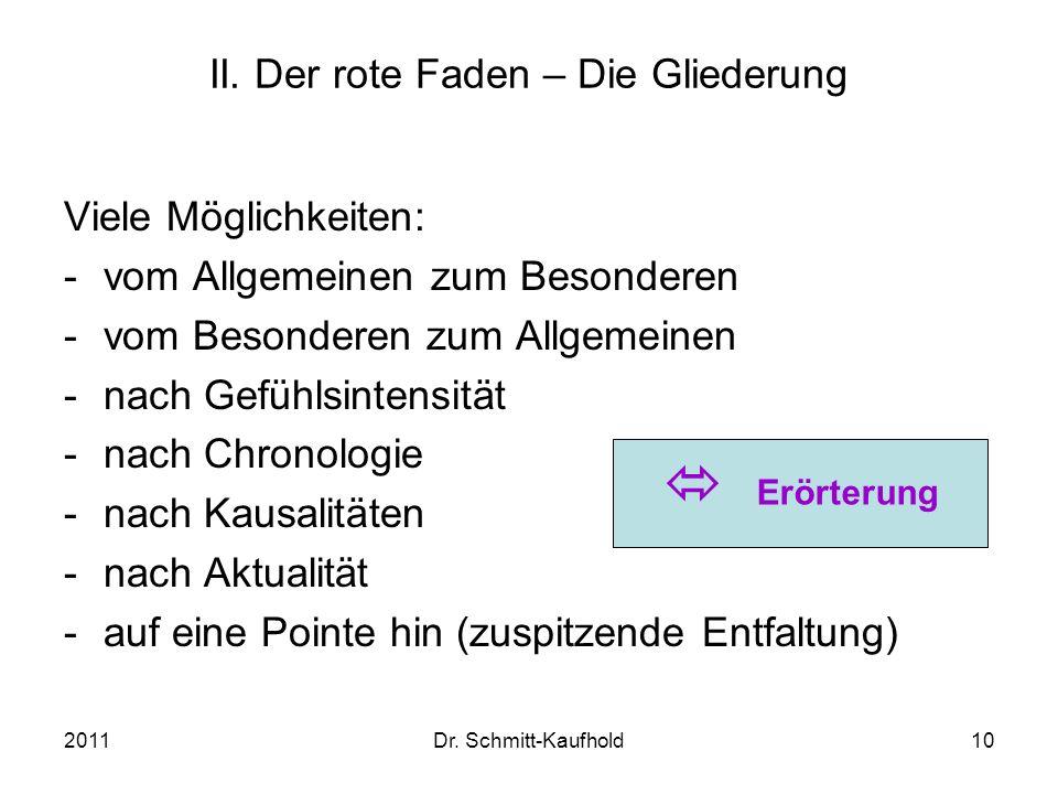2011Dr. Schmitt-Kaufhold10 II. Der rote Faden – Die Gliederung Viele Möglichkeiten: -vom Allgemeinen zum Besonderen -vom Besonderen zum Allgemeinen -n