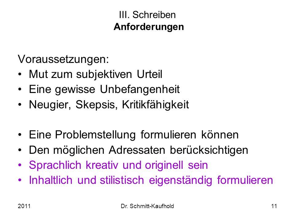 2011Dr. Schmitt-Kaufhold11 III. Schreiben Anforderungen Voraussetzungen: Mut zum subjektiven Urteil Eine gewisse Unbefangenheit Neugier, Skepsis, Krit