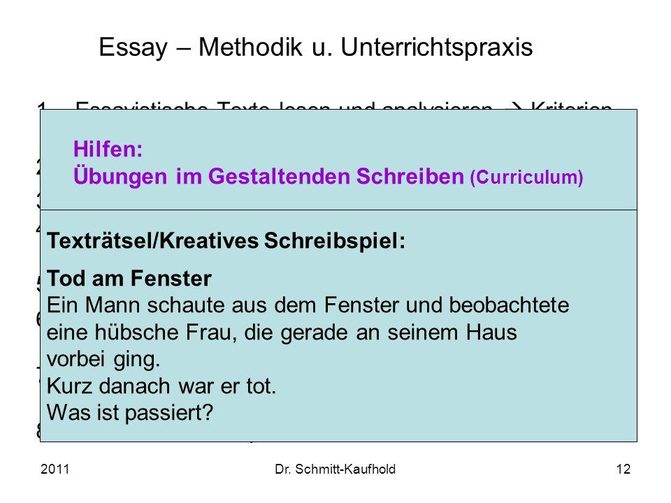 2011Dr. Schmitt-Kaufhold12 Essay – Methodik u. Unterrichtspraxis 1.Essayistische Texte lesen und analysieren Kriterien entwickeln 2.Textdossier auswer