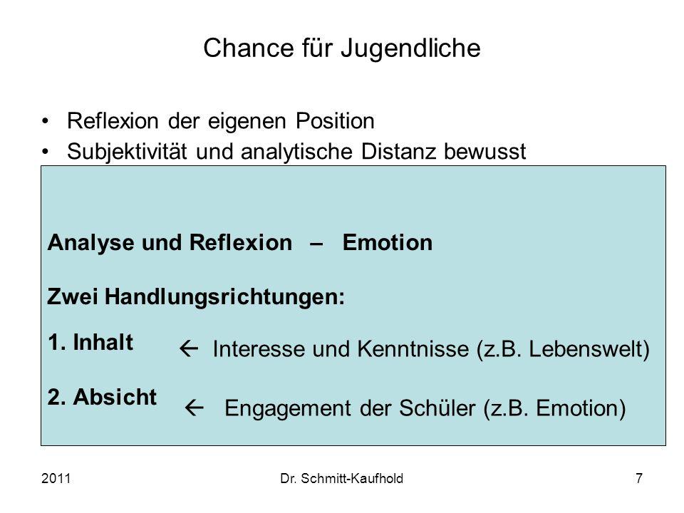 2011Dr. Schmitt-Kaufhold7 Chance für Jugendliche Reflexion der eigenen Position Subjektivität und analytische Distanz bewusst wahrnehmen Unterschiedli