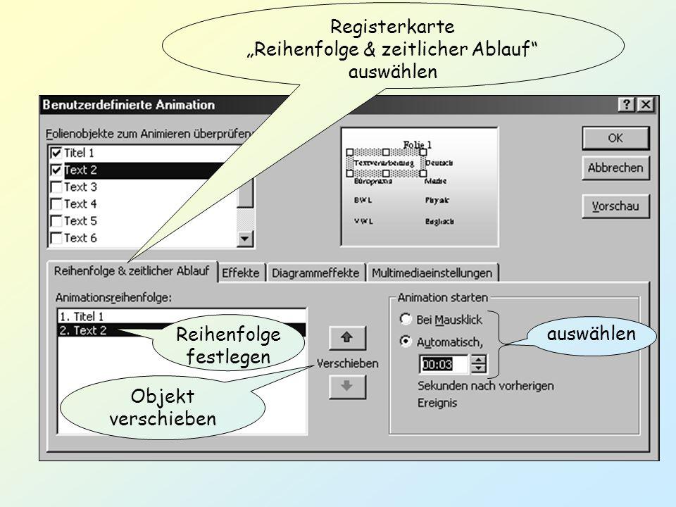 Registerkarte Reihenfolge & zeitlicher Ablauf auswählen auswählen Reihenfolge festlegen Objekt verschieben