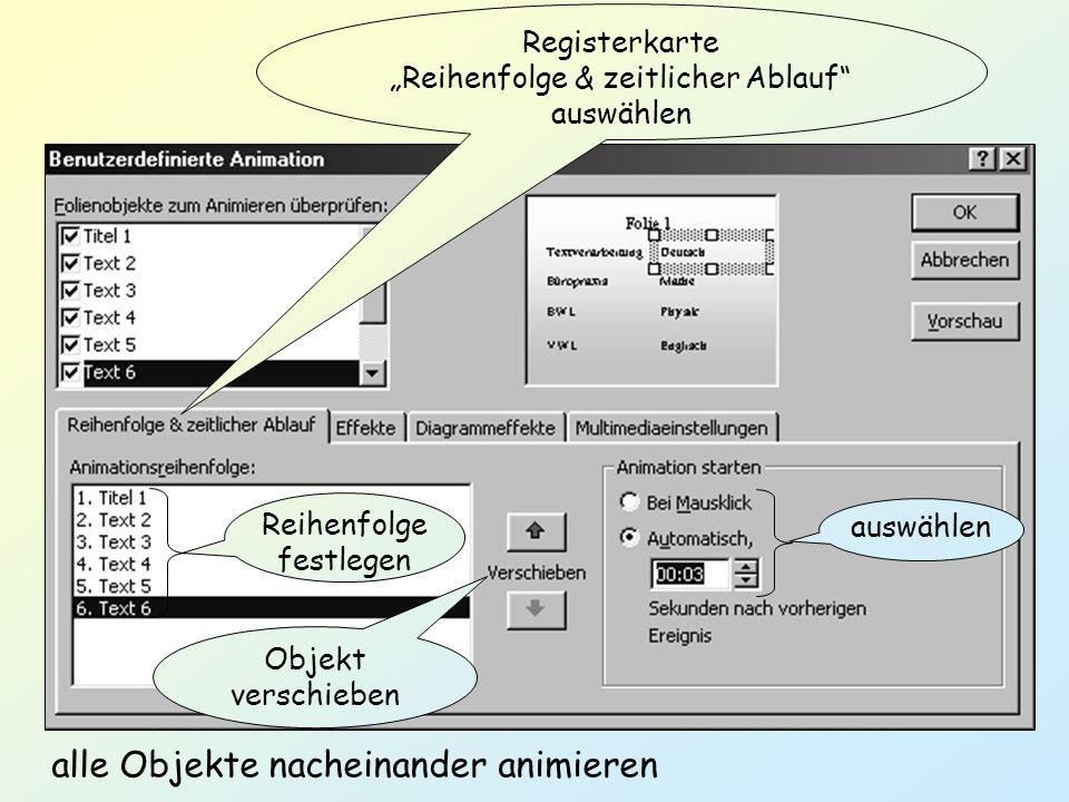 Registerkarte Reihenfolge & zeitlicher Ablauf auswählen auswählen Reihenfolge festlegen Objekt verschieben alle Objekte nacheinander animieren