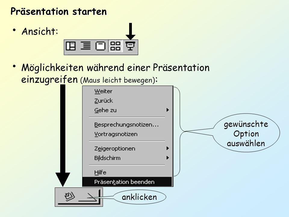 Präsentation starten Ansicht: Möglichkeiten während einer Präsentation einzugreifen (Maus leicht bewegen) : anklicken gewünschte Option auswählen