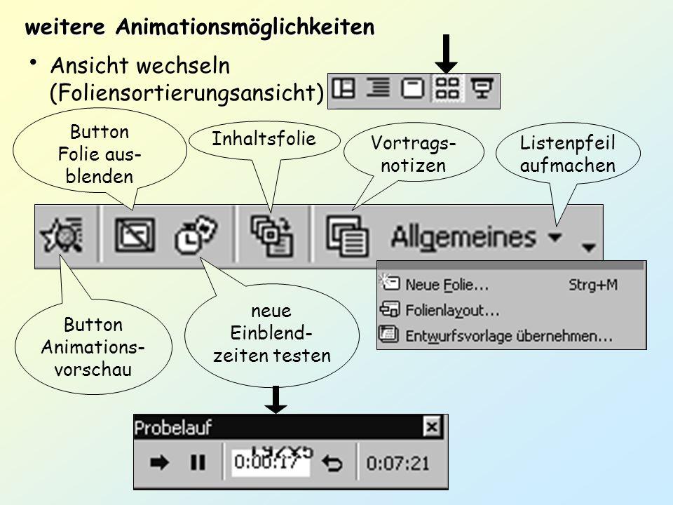weitere Animationsmöglichkeiten Ansicht wechseln (Foliensortierungsansicht) Button Animations- vorschau Button Folie aus- blenden neue Einblend- zeite