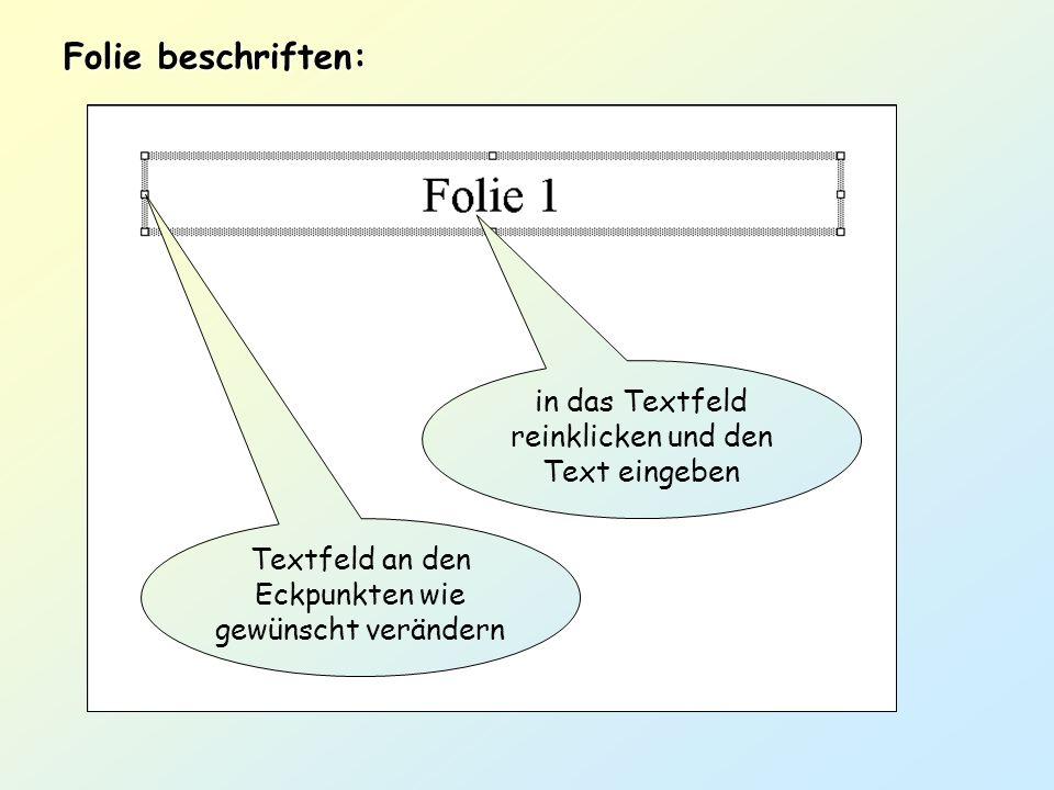 in das Textfeld reinklicken und den Text eingeben Folie beschriften: Textfeld an den Eckpunkten wie gewünscht verändern