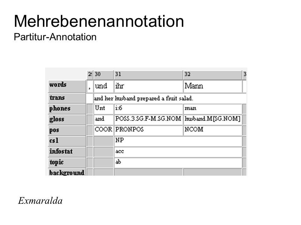 Mehrebenenannotation Partitur-Annotation Exmaralda