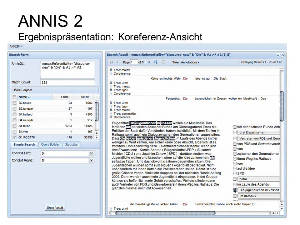 ANNIS 2 Ergebnispräsentation: Koreferenz-Ansicht