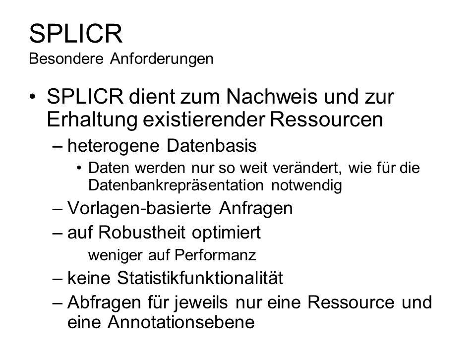 SPLICR Besondere Anforderungen SPLICR dient zum Nachweis und zur Erhaltung existierender Ressourcen –heterogene Datenbasis Daten werden nur so weit ve