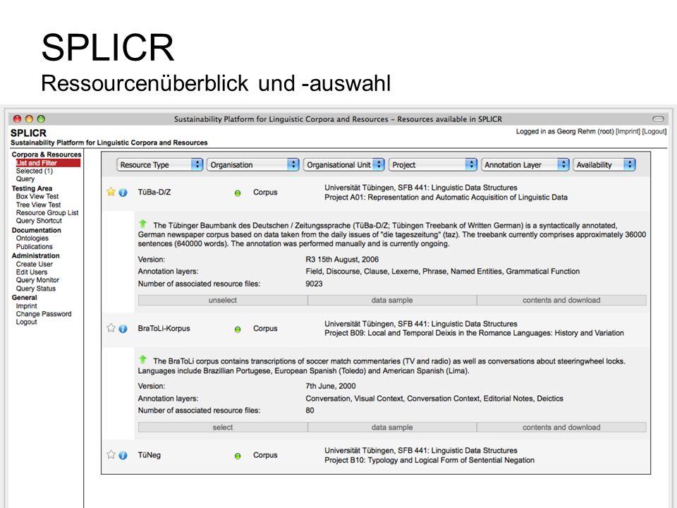 SPLICR Ressourcenüberblick und -auswahl