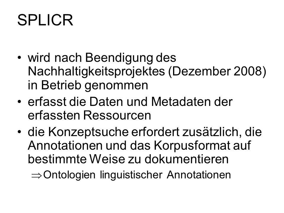 SPLICR wird nach Beendigung des Nachhaltigkeitsprojektes (Dezember 2008) in Betrieb genommen erfasst die Daten und Metadaten der erfassten Ressourcen