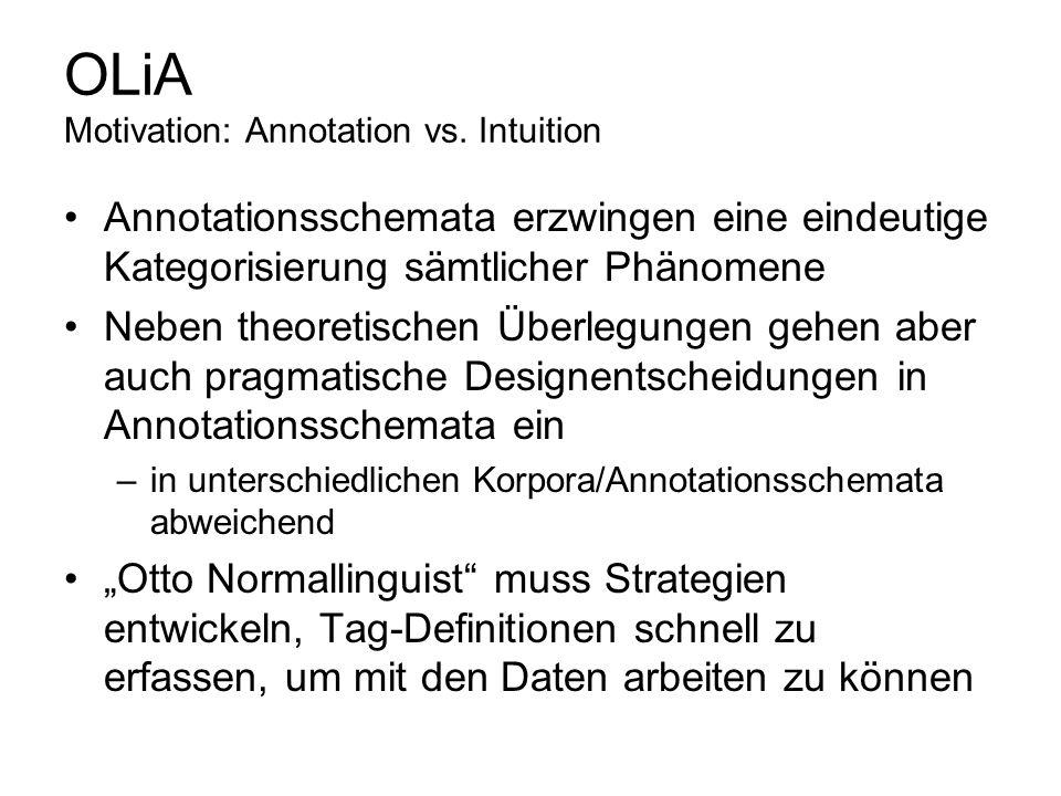 OLiA Motivation: Annotation vs. Intuition Annotationsschemata erzwingen eine eindeutige Kategorisierung sämtlicher Phänomene Neben theoretischen Überl