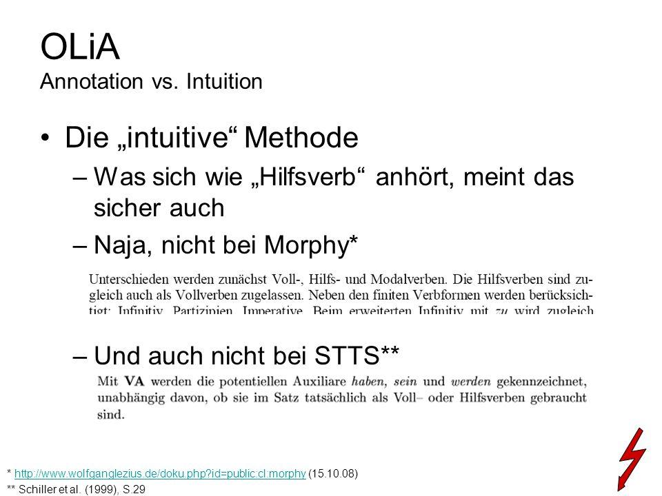 OLiA Annotation vs. Intuition Die intuitive Methode –Was sich wie Hilfsverb anhört, meint das sicher auch –Naja, nicht bei Morphy* –Und auch nicht bei