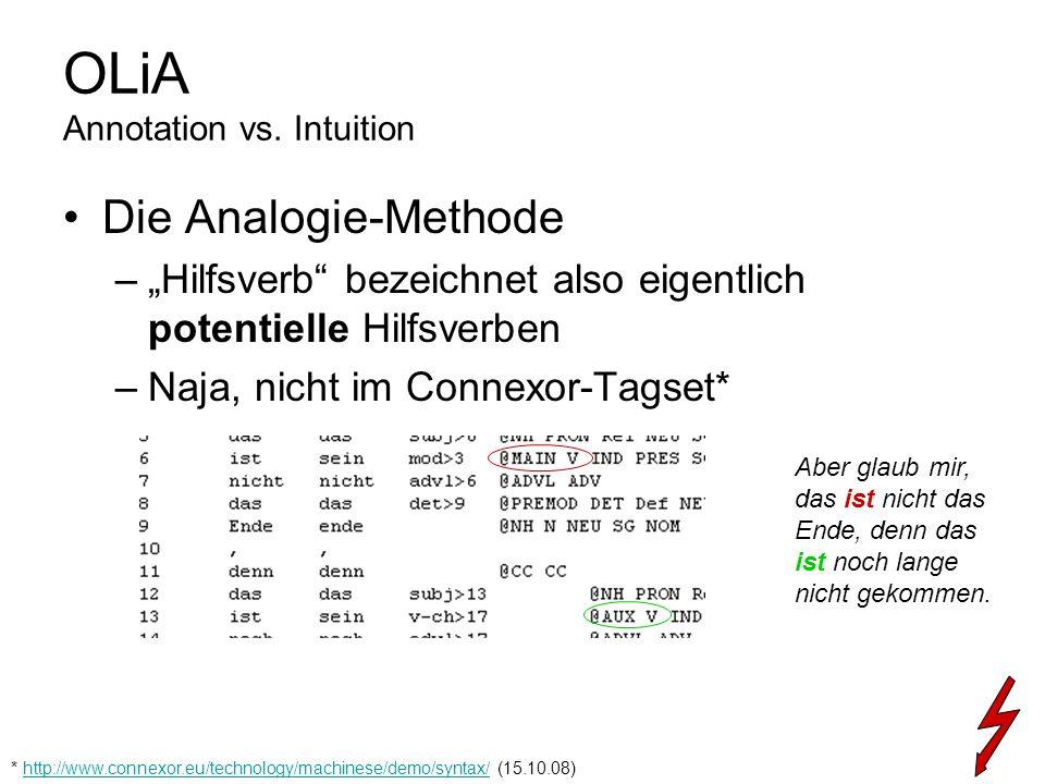 OLiA Annotation vs. Intuition Die Analogie-Methode –Hilfsverb bezeichnet also eigentlich potentielle Hilfsverben –Naja, nicht im Connexor-Tagset* * ht