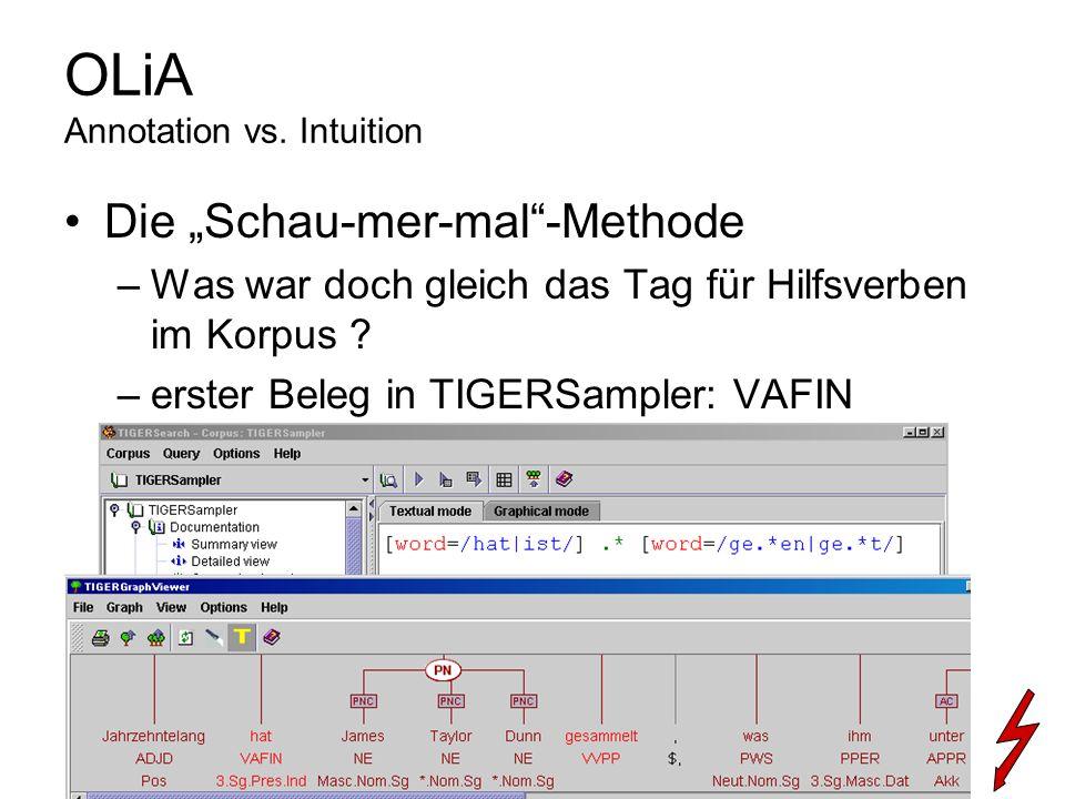 Die Schau-mer-mal-Methode –Was war doch gleich das Tag für Hilfsverben im Korpus ? –erster Beleg in TIGERSampler: VAFIN OLiA Annotation vs. Intuition