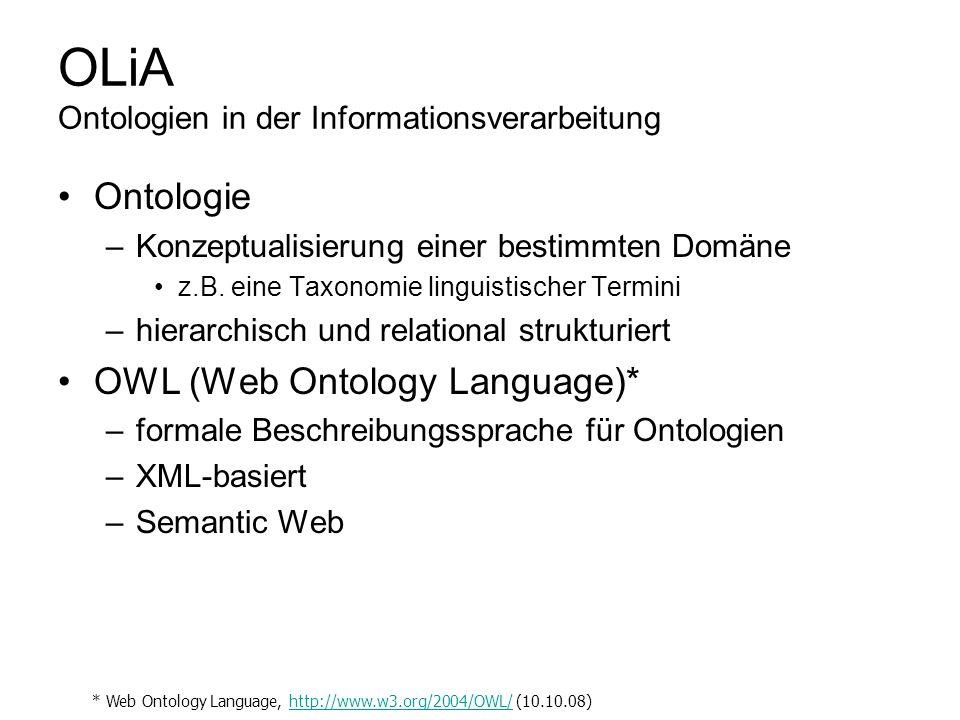 OLiA Ontologien in der Informationsverarbeitung Ontologie –Konzeptualisierung einer bestimmten Domäne z.B. eine Taxonomie linguistischer Termini –hier