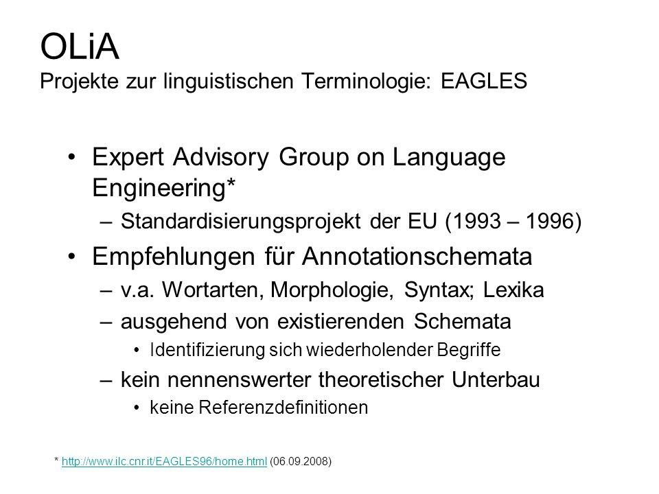 OLiA Projekte zur linguistischen Terminologie: EAGLES Expert Advisory Group on Language Engineering* –Standardisierungsprojekt der EU (1993 – 1996) Em