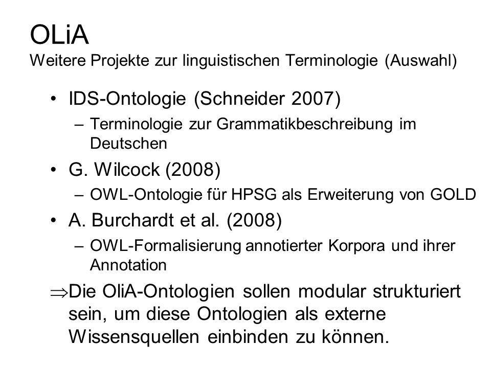 OLiA Weitere Projekte zur linguistischen Terminologie (Auswahl) IDS-Ontologie (Schneider 2007) –Terminologie zur Grammatikbeschreibung im Deutschen G.