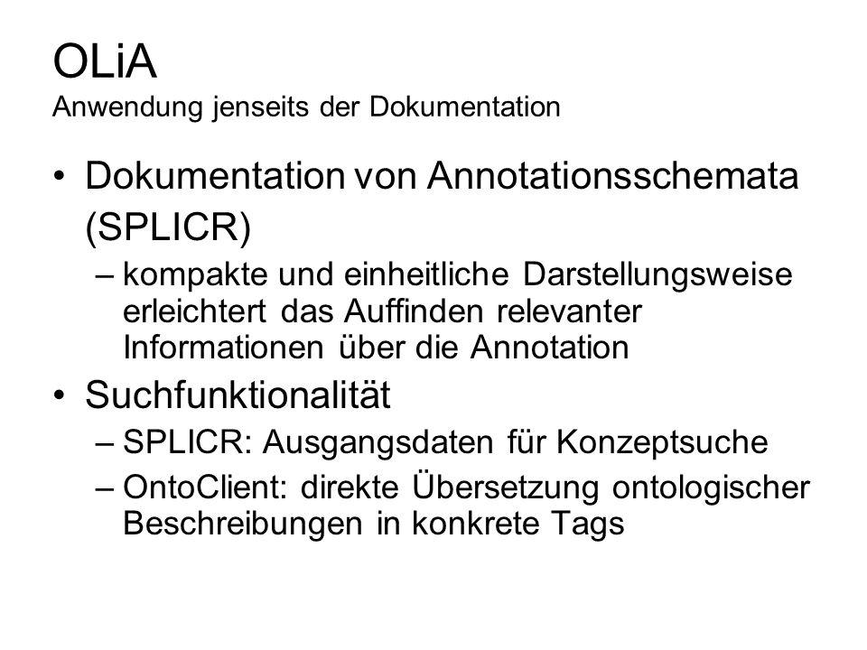 OLiA Anwendung jenseits der Dokumentation Dokumentation von Annotationsschemata (SPLICR) –kompakte und einheitliche Darstellungsweise erleichtert das