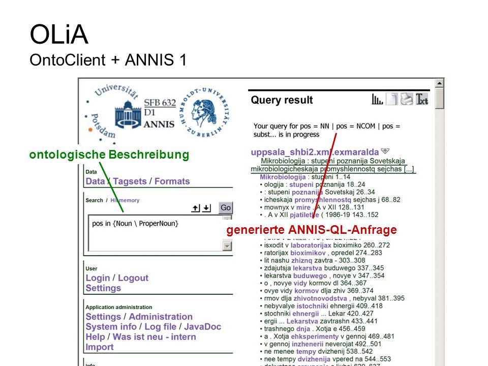 OLiA OntoClient + ANNIS 1 ontologische Beschreibung generierte ANNIS-QL-Anfrage