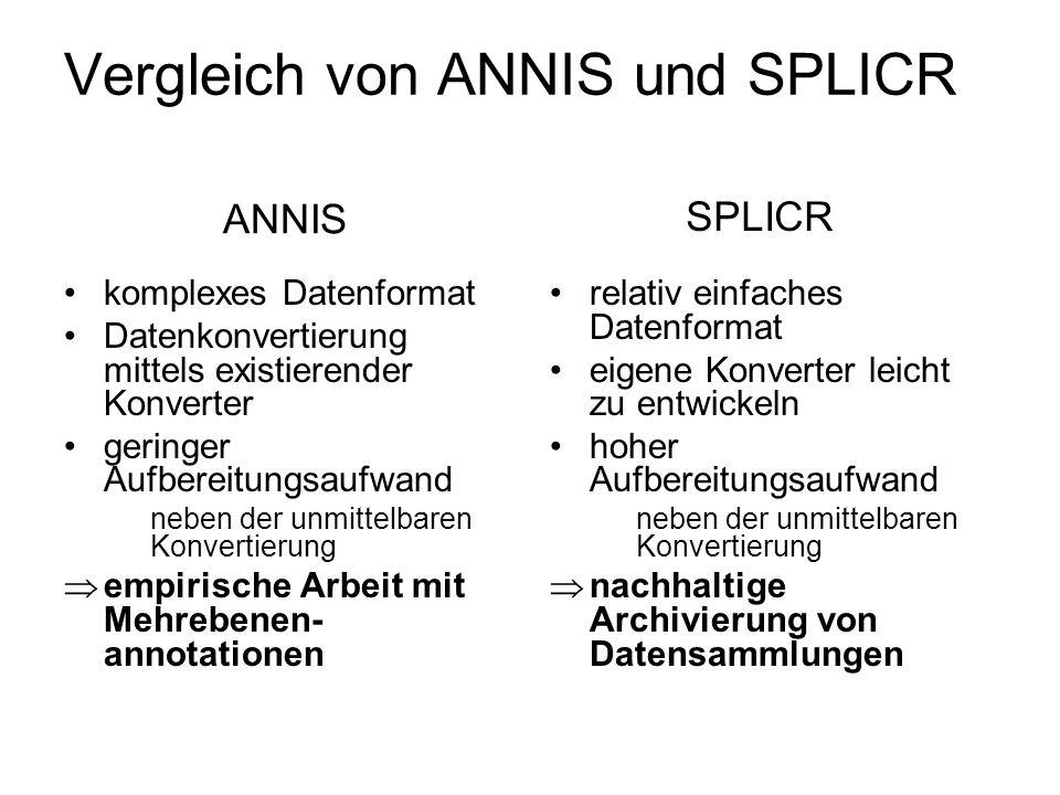 Vergleich von ANNIS und SPLICR komplexes Datenformat Datenkonvertierung mittels existierender Konverter geringer Aufbereitungsaufwand neben der unmitt