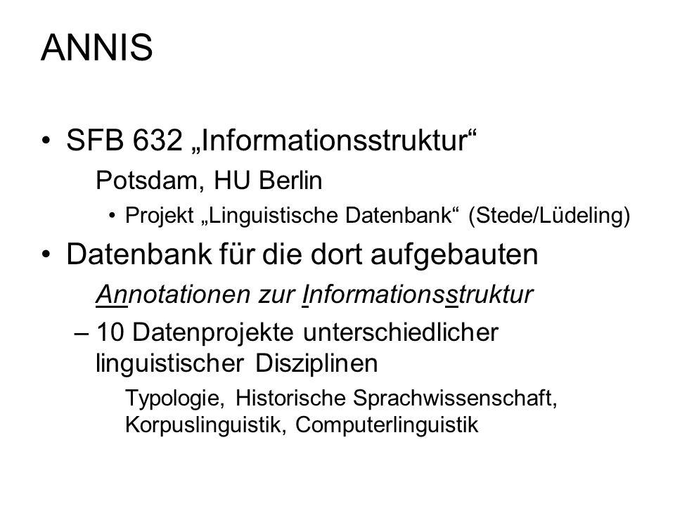 ANNIS SFB 632 Informationsstruktur Potsdam, HU Berlin Projekt Linguistische Datenbank (Stede/Lüdeling) Datenbank für die dort aufgebauten Annotationen